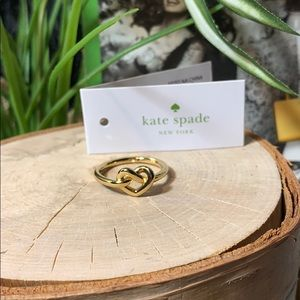 Kate Spade ring gold love knot New! Size 8